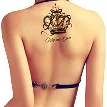 Amazon Com Tafly Black Crown Temporary Back Leg Arm Tattoo Queen