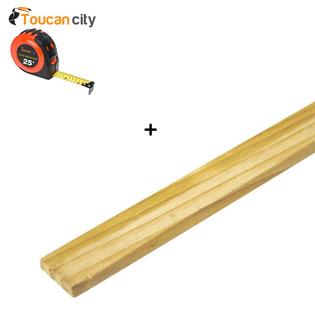 Toucan City Tape Measure and 5/16 in. x 1.5 in. x 4 ft. Wood Lath (50-Pack) 234629