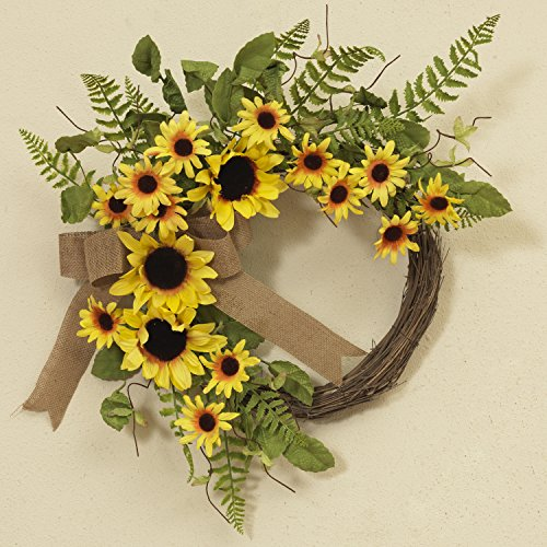 22 Inch Yellow Sunflower Wreath with Greenery and Burlap Ribbon - Front Door Wreath Spring Decoration