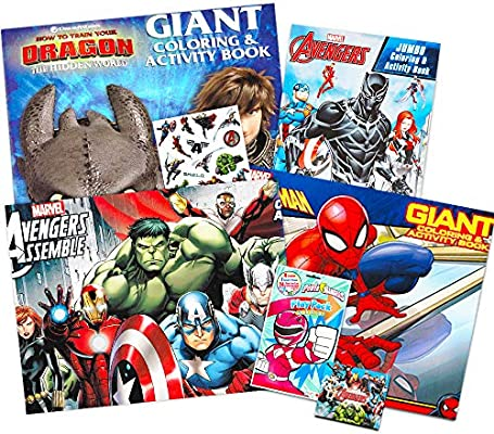 - Amazon.com: Coloring Books For Boys Super Set -- 4 Giant Coloring Books  With Stickers Featuring Marvel Avengers, Spiderman, Power Rangers, How To  Train Your Dragon: Toys & Games
