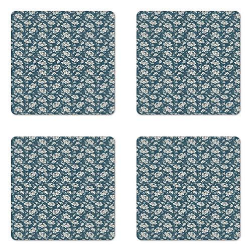 Square Botanic Coasters Garden - Ambesonne Vintage Coaster Set of Four, Botanic Garden Illustration Romantic Feminine Arrangement Grunge Effect, Square Hardboard Gloss Coasters for Drinks, Dark Teal Eggshell