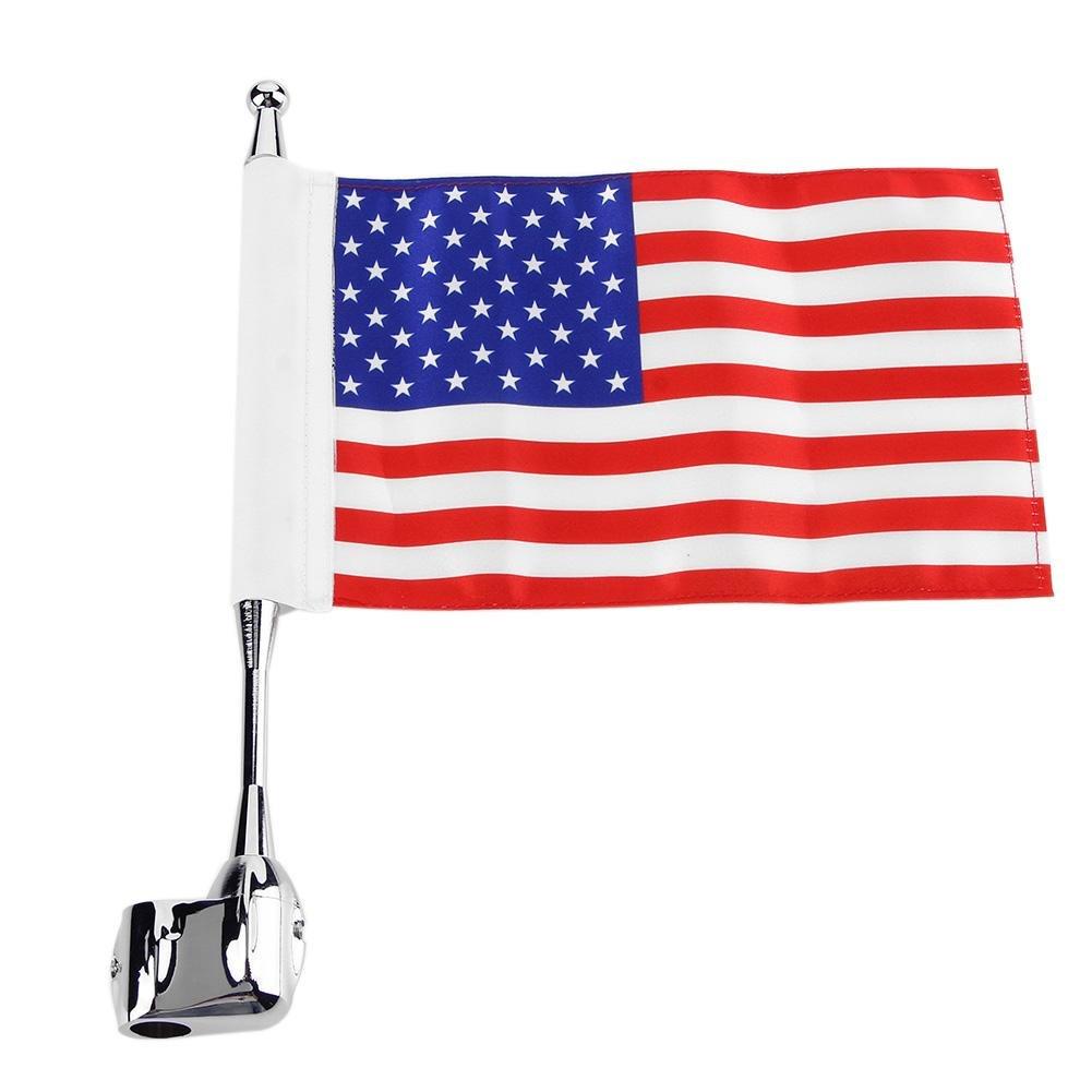 Ahomi Mâ t de drapeau pour fixation sur porte-bagages arriè re de moto + Drapeau des É tats-Unis, pour Honda Gold Wing GL 1800