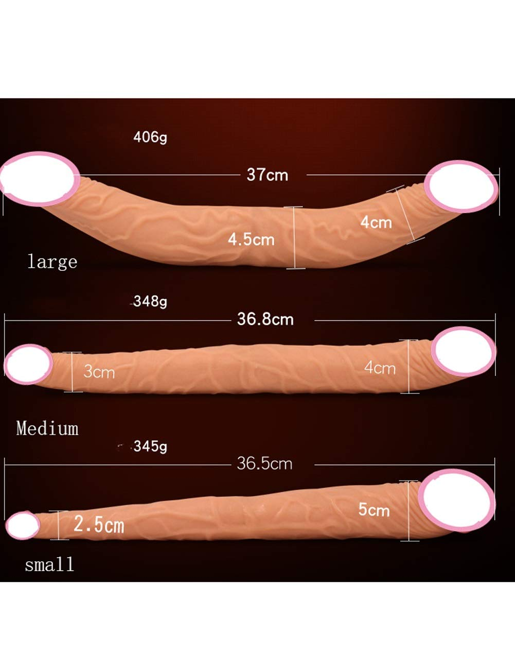 Sloveshop Three Sizes Realistic Double Ended Silicone-Massager for Beginners Advanced Users (Flesh) (Size : S)