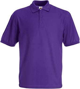 Fruit of the Loom SS033M-Polo Hombre Morado morado Large: Amazon ...