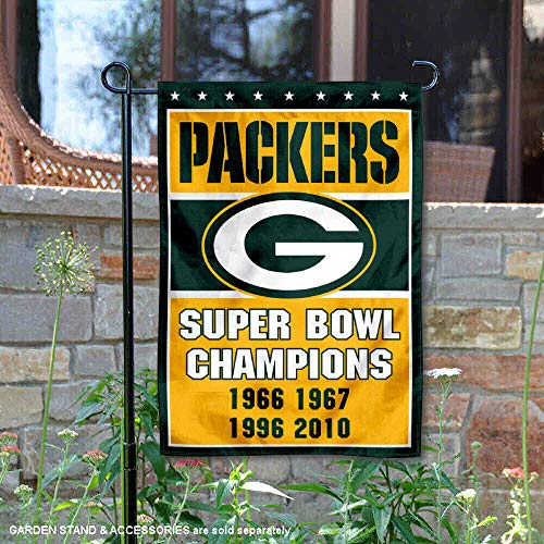 WinCraft Green Bay Packers 4 Time Super Bowl Champions Double Sided Garden -