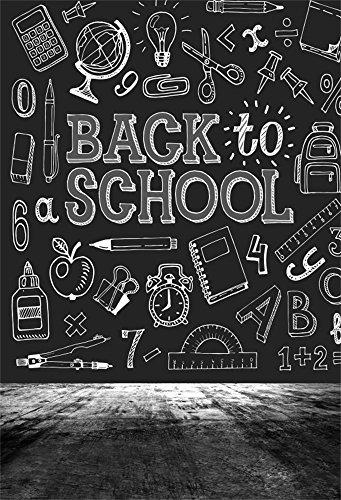 Laeacco Vinyl 5x7FT Photography Background Back to School Theme Blackboard Sketch Chalkletter Illustrations on Blackboard Learning Tools Students Knowledge Classroom Scene Vintage Retro - Vinyl School