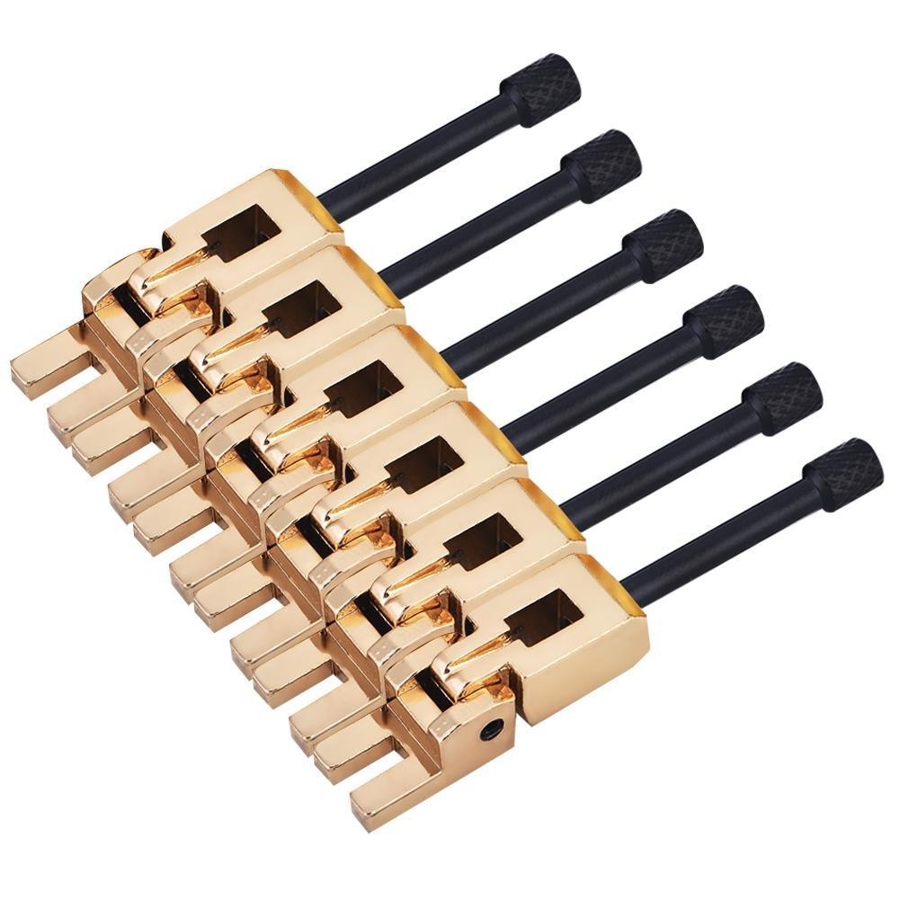 Alomejor Electric Guitar Saddle Wrench, Brass Guitar Roller Bridge Tremolo Saddles String Set of 6 Silver Black Gold (Gold + Black)