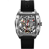 CIGA Design Watch Automatic Mechanical Wristwatch Tonneau Synthetic Sapphire Crystal Stainless Steel Case Silicone Strap…