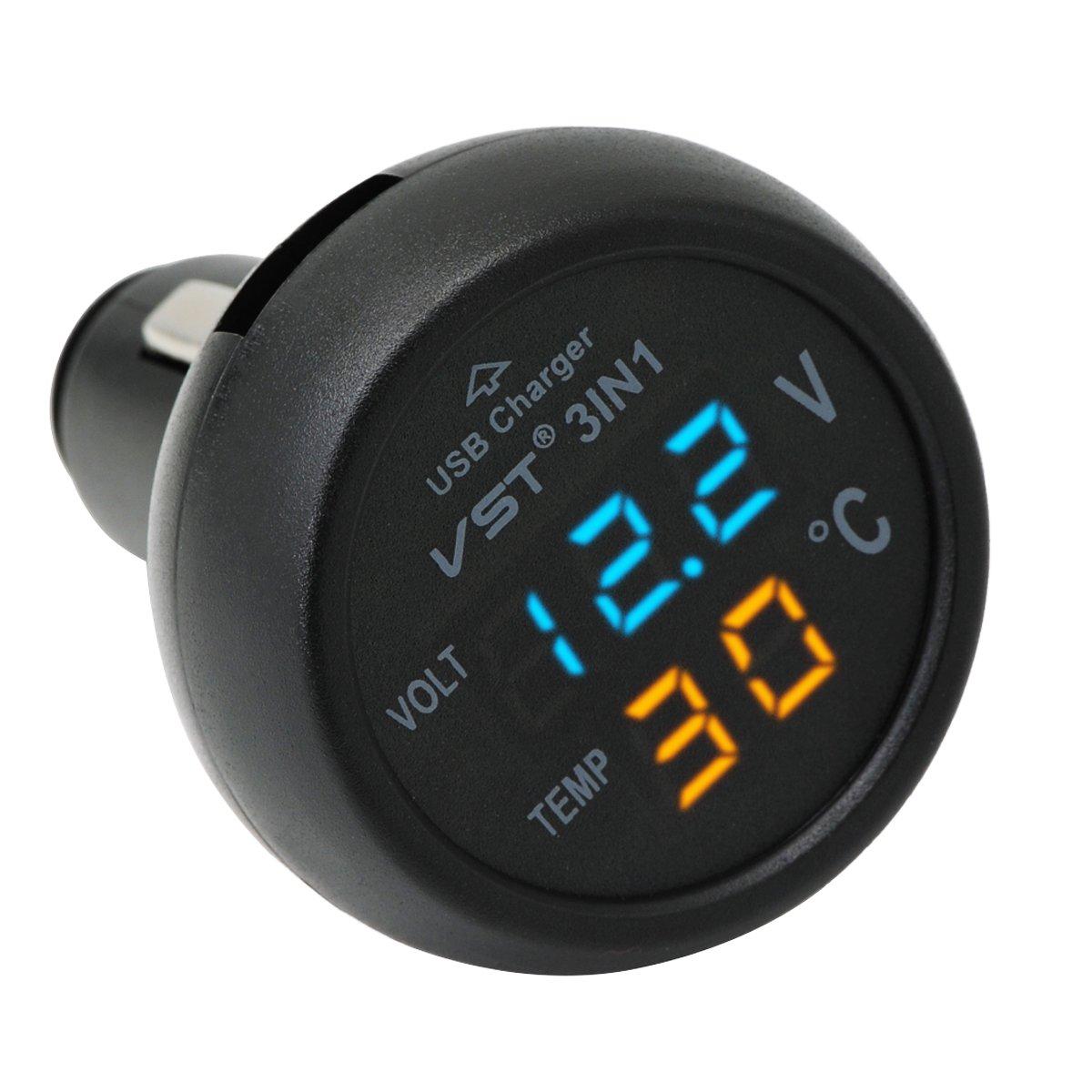 QUMOX Cigarette Lighter Estilo Termómetro Digital Display voltímetro con cargador USB product image