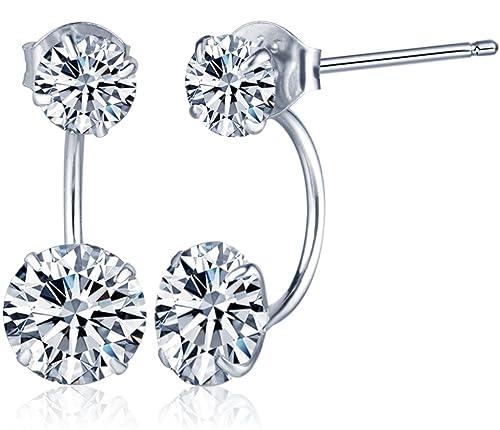 Yumilok 925 Sterling Silber Doppel Zirkoniakugeln Ohrhänger Ohrstecker Ohrring Jackets Hypoallergen Ohrschmuck für Damen Frauen Mädchen