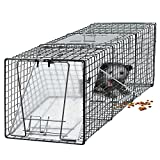 "OxGord Live Animal Trap 24"" X 7"" X 7"" Catch Release Humane Rodent Cage for Rabbits, Stray Cat, Squirrel, Raccoon, Mole, Gopher, Opossum, Skunk & Chipmunks Steel Outdoor Professional Grade"