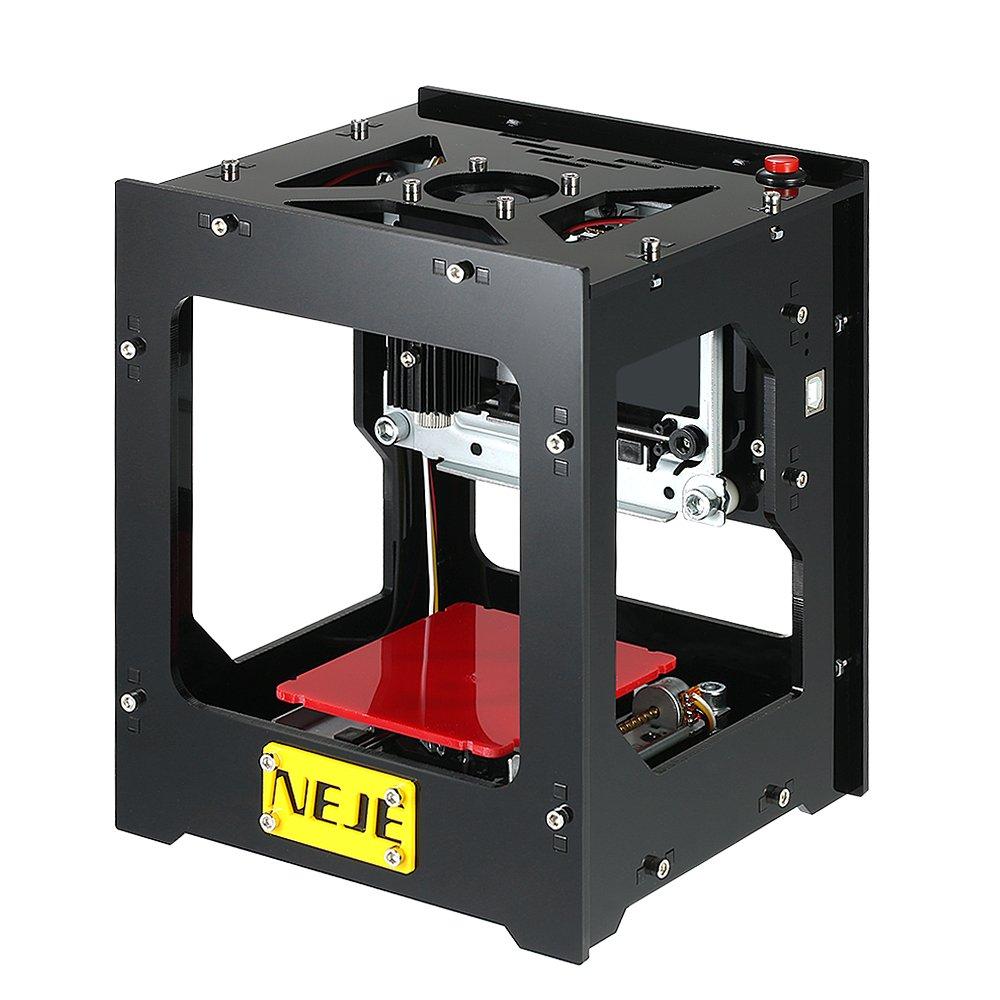 KKmoon 1500mW 350DPI Mini USB Laser Graviermaschine Lasergravierer Carver Hochgeschwindigkeit Automatische DIY Druck Engraving Carving Maschine Gravur Schnitzmaschine Off-line Betrieb mit Schutzbrille
