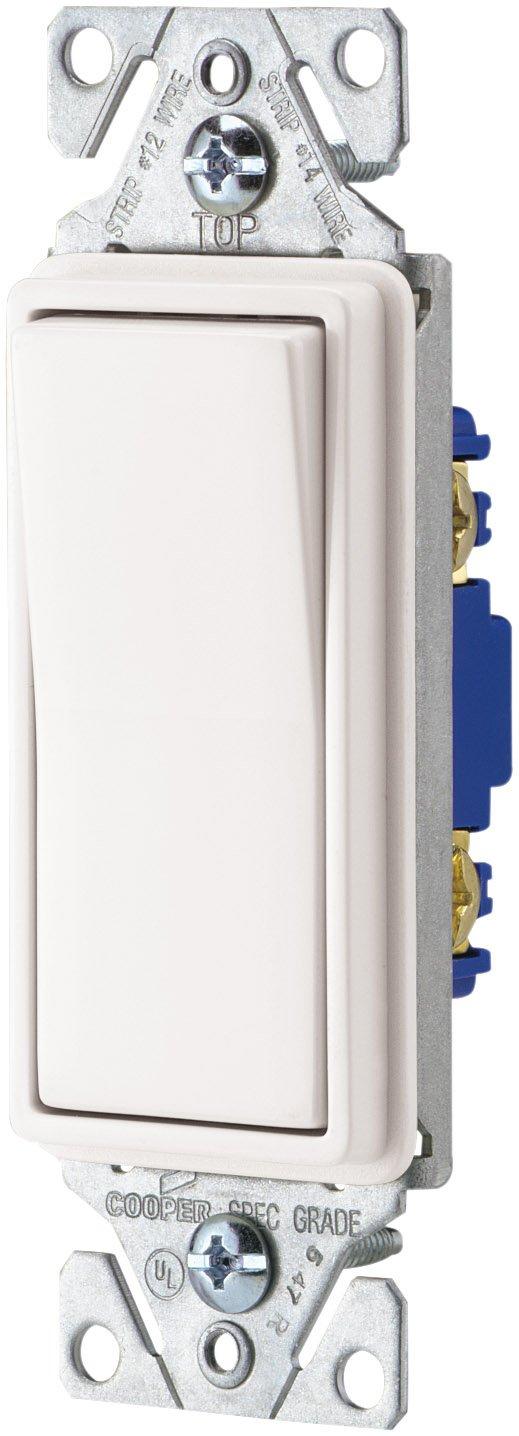 EATON Wiring 7501W-SP-L 15-Amp, 120-Volt Standard Grade Single Pole Decorator Switch, White