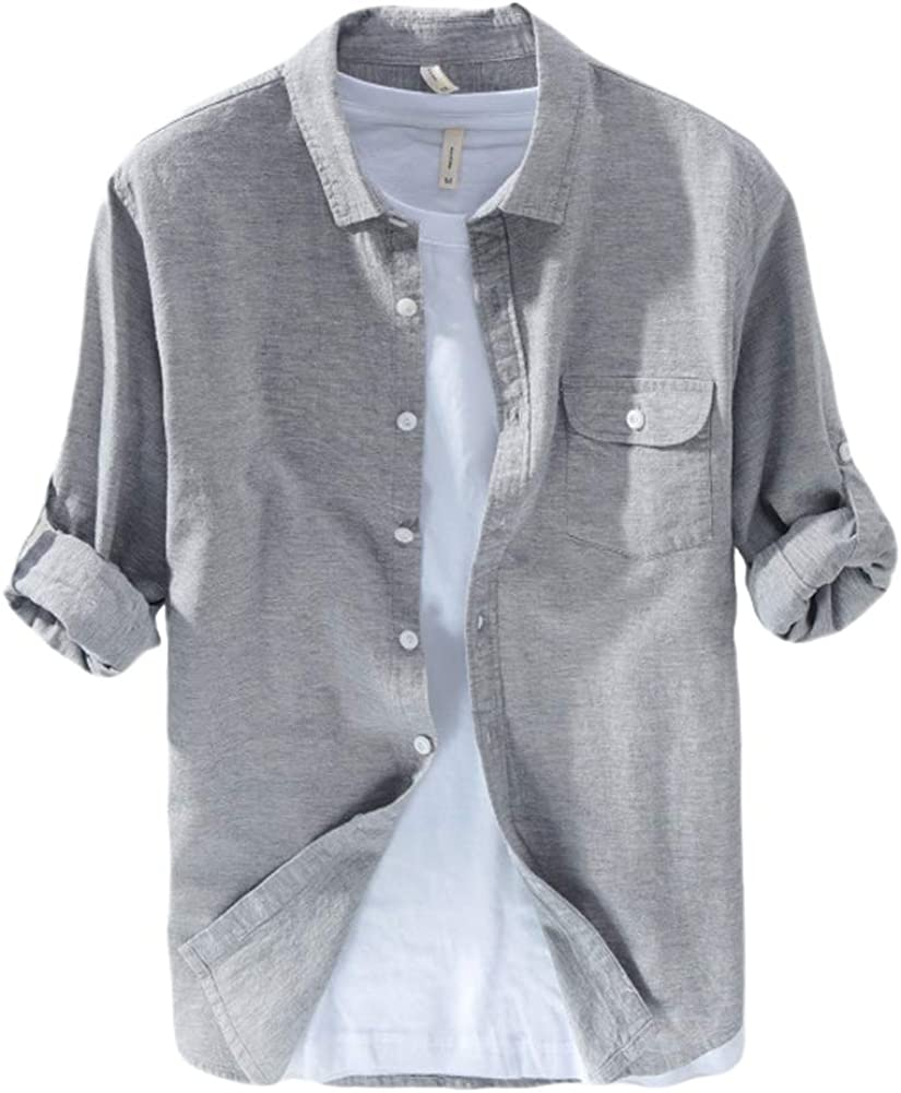 ZhuikunA Chemise,Homme Manches Longues Revers T-Shirt Lin Casual Tops