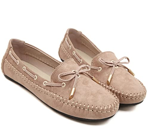 MayBest Womens Work Comfort Leather Casual Loafer Shoes Flat Moccasins (Apricot 4 B (M