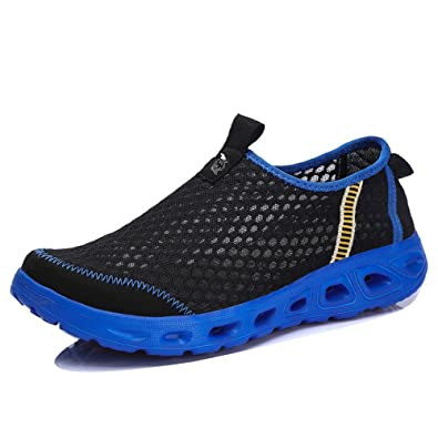 XSXA1702heise44 EnllerviiD Men Slip On Waterproof Water Shoes Summer Casual Beach Pool Garden Shoes Black 10 D(M) US