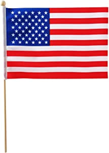 United States flag - American flag - USA flag - Patriotic handheld flags with wooden flagpole, perfect size 8.2×5.5inch, kid-safe (30pk)…