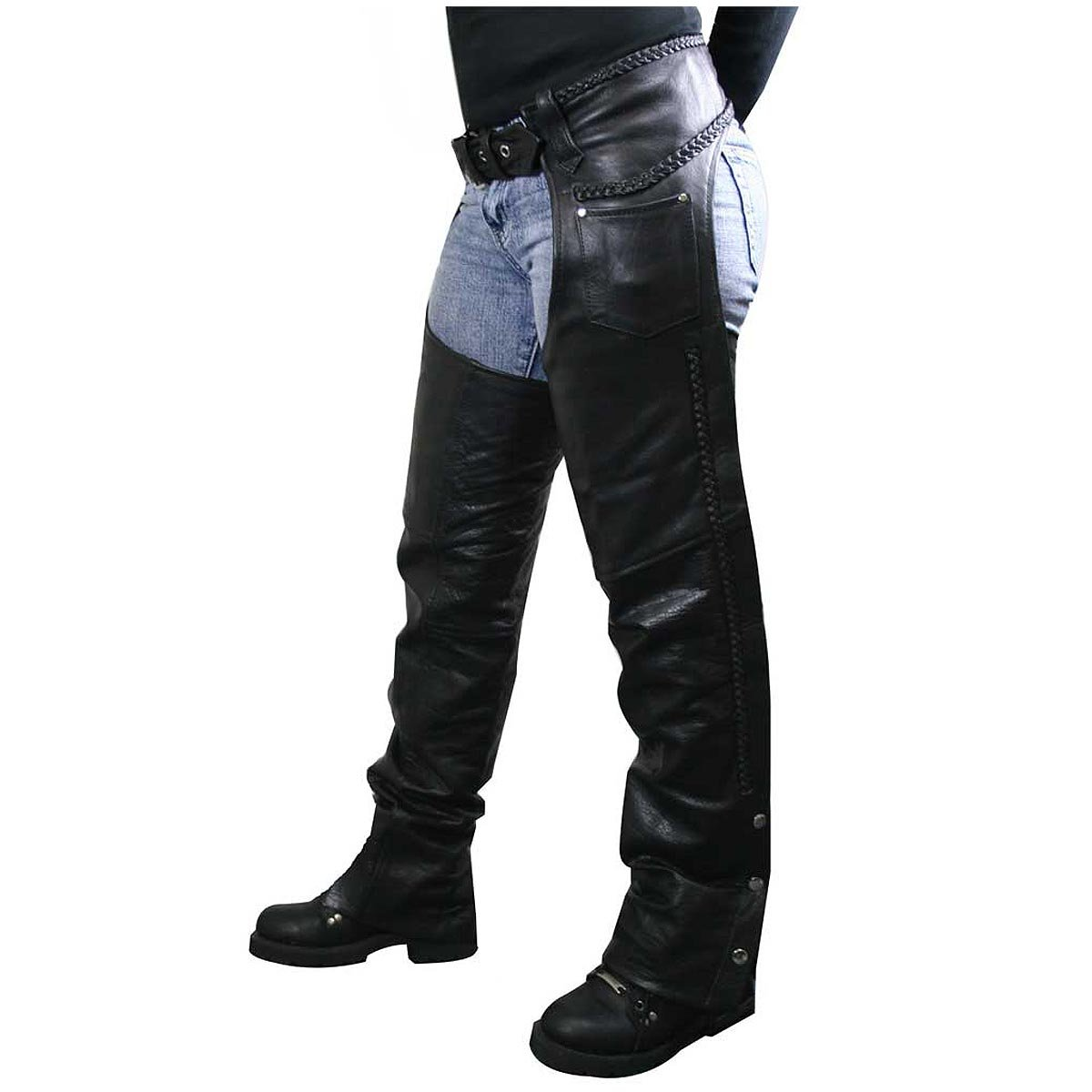 Xelement 7701 Womens Black Braided Leather Chaps - 24