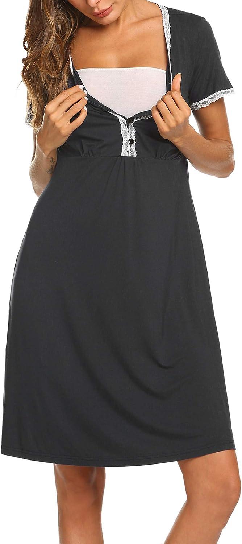 MAXMODA Damen Umstandskleid Spitzenkleid Schwangerschafts Kleid V-Ausschnitt Mit Kurzarm