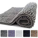 KANGAROO Plush Luxury Chenille Bathroom Rug Mat (30 x 20), Extra Soft and Absorbent Shaggy Rugs, Machine Wash/Dry, Strong Underside, Perfect Carpet Mats for Tub, Shower, and Bath Room (Gray)