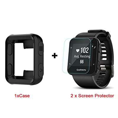 for Garmin Forerunner 35 Case, Lamshaw Silicone Case with Screen Protector (2 Pack) for Garmin Forerunner 35 Watch (Black case+ Screen Protector): Electronics