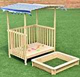 K&A Company Beach Cabana Sandbox Retractable Playhouse Canopy Kids Children Outdoor Toy Play Blue