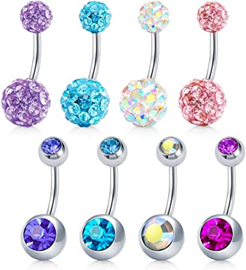 Mayhoop 8pcs Belly Bars Belly Button Rings 14g Stainless Steel Cz