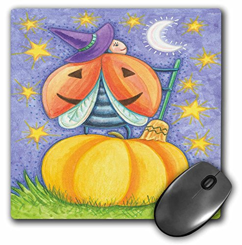 3dRose Anne Marie Baugh - Halloween - Cute Halloween Lady Bug Witch On A Pumpkin Illustration - Mousepad (mp_216758_1)
