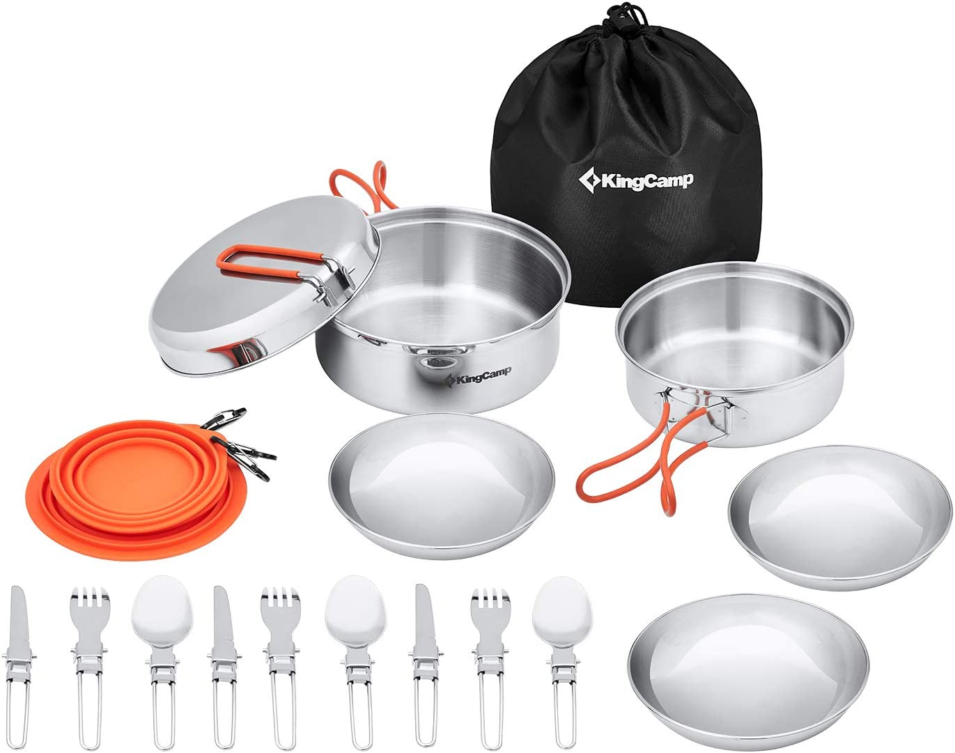 Gear /& Hiking Outdoor Cook Gear Cook Set for Hiking Durable Compact Pot Pan Bowls Lightweight Backpacking Cooking Set KingCamp Camping Cookware Mess Kit Picnic BPA-Free