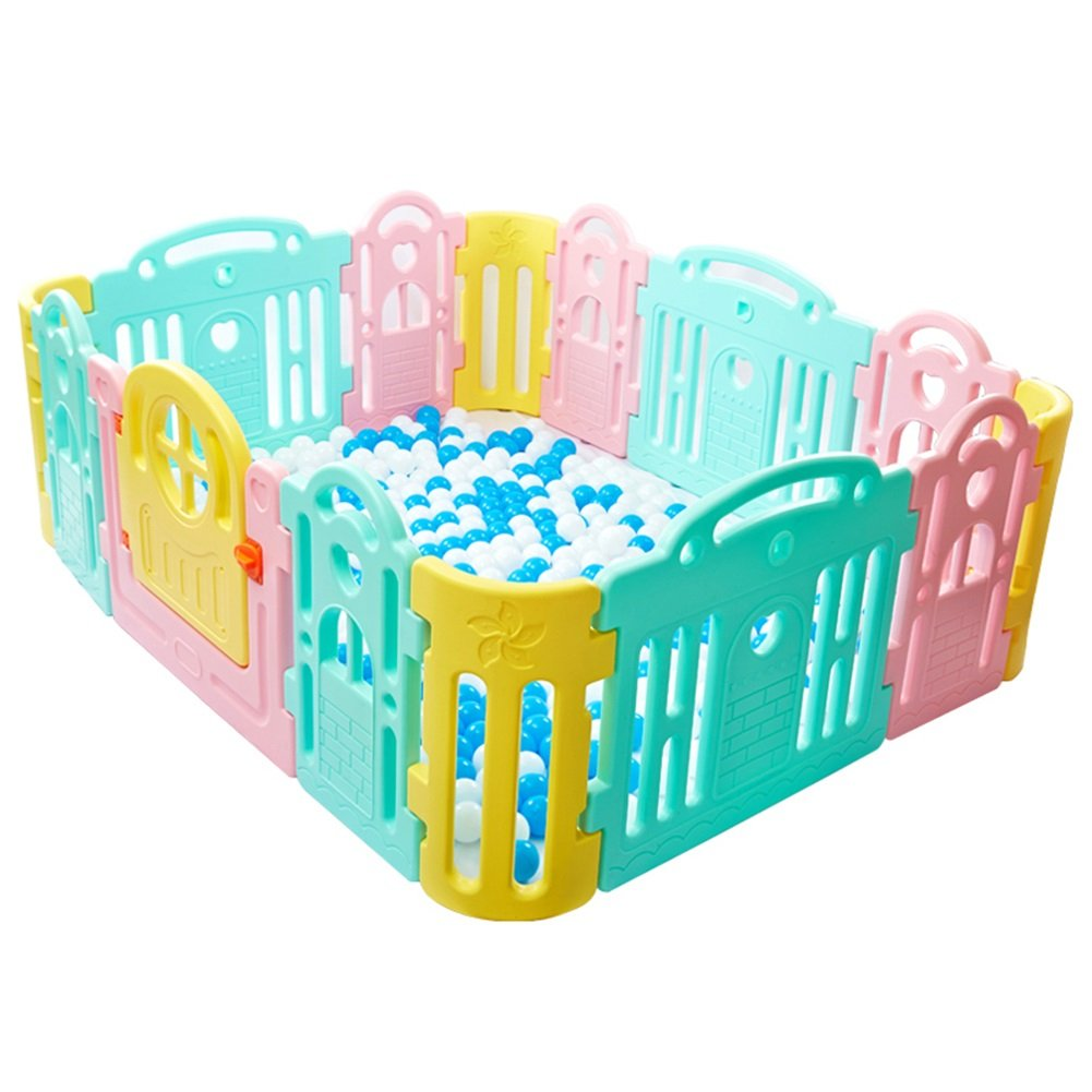 Large Play Pen for Children Plastic Portable Washable Playpen with Canopy Indoor Outdoor Home 14 Panel