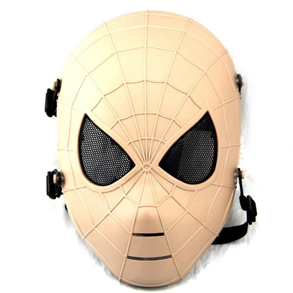 ATAirsoft Spiderman Airsoft戦術ペイントボールメッシュフルフェイス保護マスクde B074CK2412