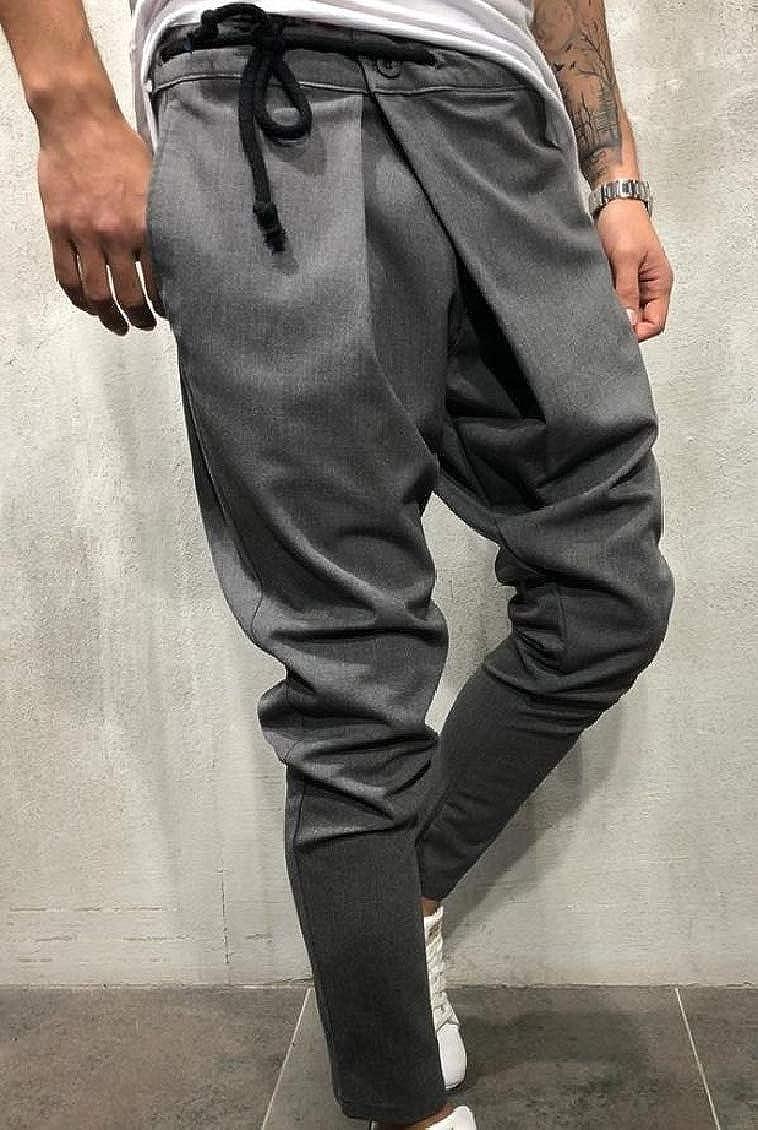 Hajotrawa Men Solid Trousers Harem Simple Mid Rise Joggers Pants