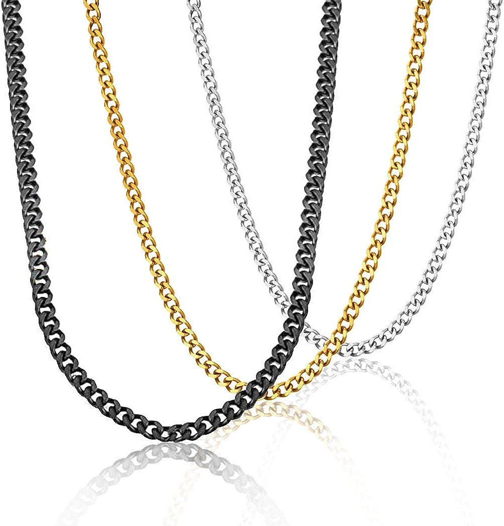 Largeur 3mm Longueur 45cm 3 pcs Collier//Bracelet Homme Cha/îne avec Stries Bijoux en Acier INOX//Plaqu/é Or//argent/é//noir Fashion Accessoire