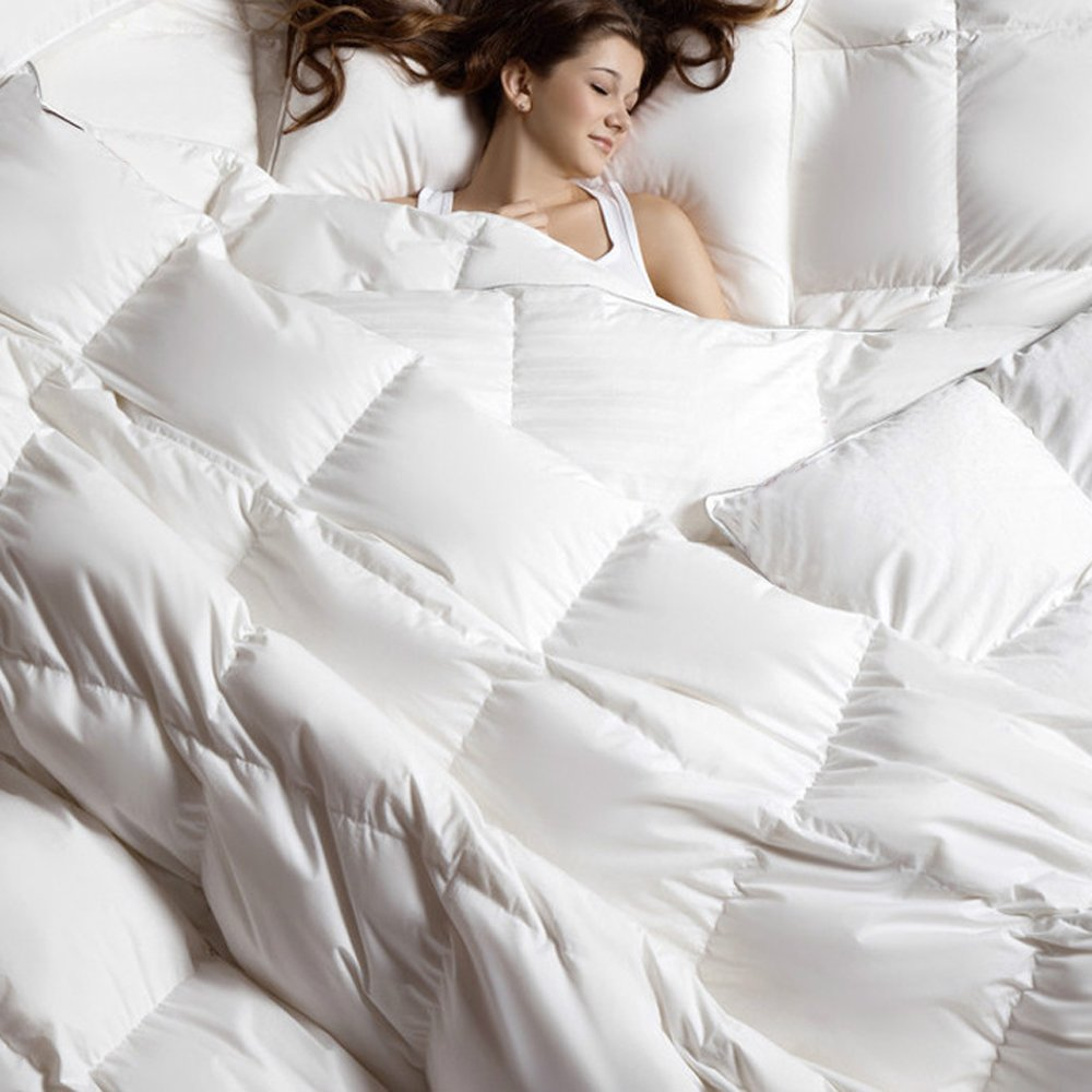 C&W Luxurious Goose Down Comforter ,King Size,1200 Thread Count 100% Egyptian Cotton 750FP 58Oz Fill Weight, White Color by C&W