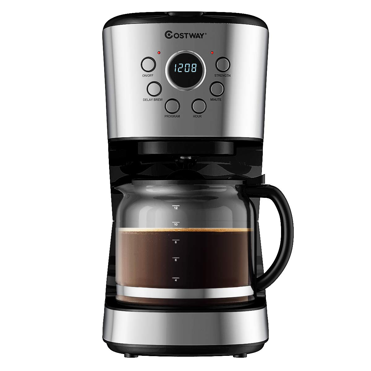 COSTWAY 12-Cup Coffee Maker, Programmable Brew Machine with LCD Display, Removable Mesh Filter, Warming Plate, Anti-drip System, Sprinkler Head, with 1.8L Glass Carafe and Spoon, Stainless Steel by COSTWAY