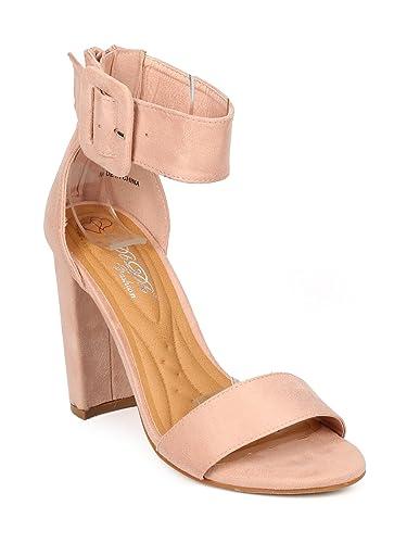 68d8ee6830 Alrisco Women Faux Suede Open Toe Ankle Cuff Block Heel Sandal HB14 - Blush Faux  Suede