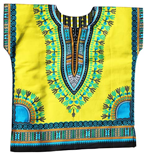 RaanPahMuang Unisex Bright Africa Colour Children Dashiki Cotton Shirt, 6-8 Years, Golden Yellow