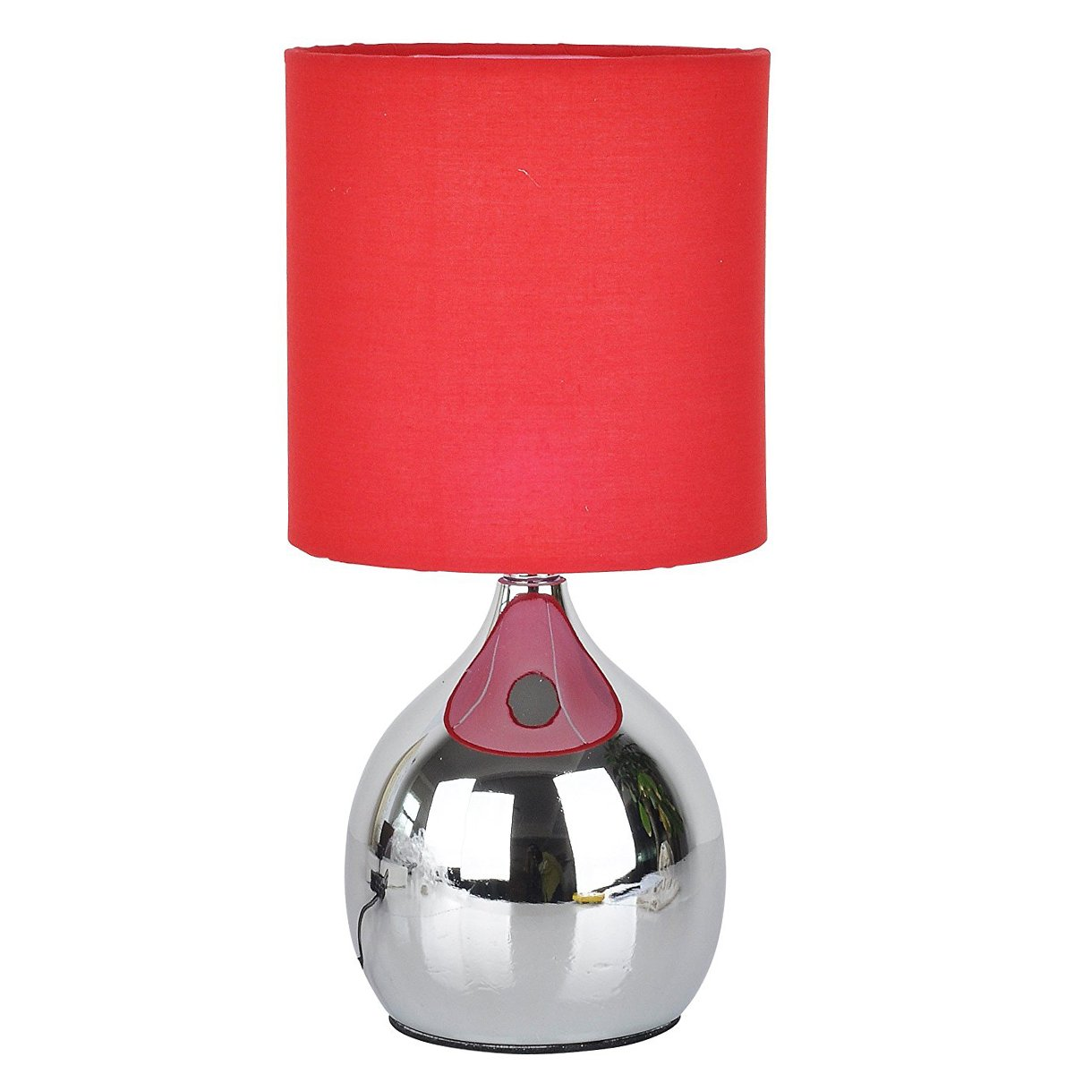 Touch Bedside RED Lamps 4 Stage Black Shade Chrome Base Mini Small Table Desk Light Wide 6 inch Tall 12 inch