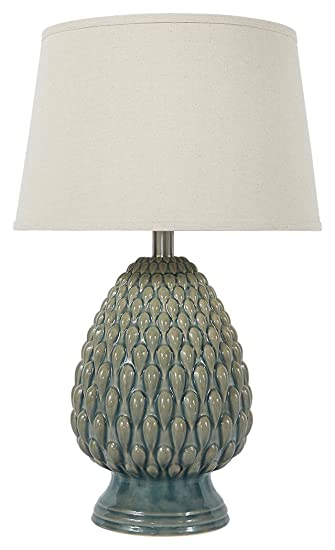 Signature Design By Ashley L100264 Ceramic Table Lamp, Teal