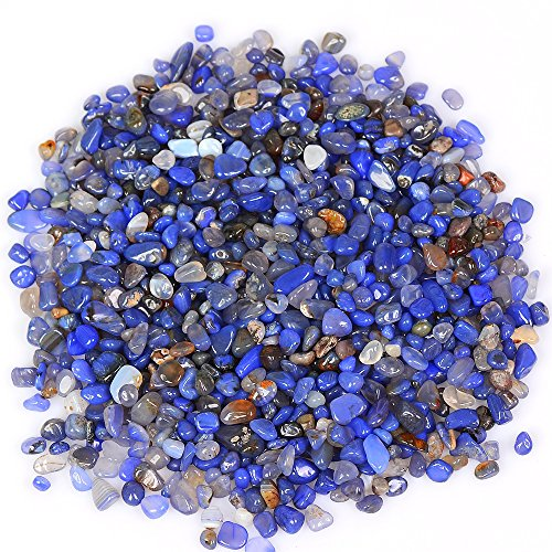 (yujianni 1 Pounds Crystal Tumbled Polished Natural Agate Gravel Stones for Plants and Crafts - Small Size - 7mm to 9mm Avg (blue))