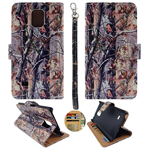 N910 Wallet Case Camo Brown Oak For Samsung Galaxy Note 4 IV Faux Leather ID Pouch Credit Card Cash Holder Folding Cover Stand Case