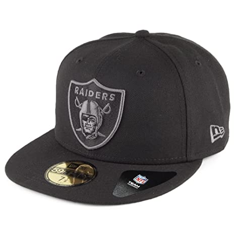 0517a702cf43a0 Amazon.com : New Era 59Fifty Oakland Raiders Fitted Hat (Dark  Graphite-Black) NFL Men's Cap : Clothing