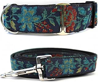 "product image for Diva-Dog 'Nashville Rose' 2"" Wide Chainless Martingale Dog Collar, Matching Leash Available"