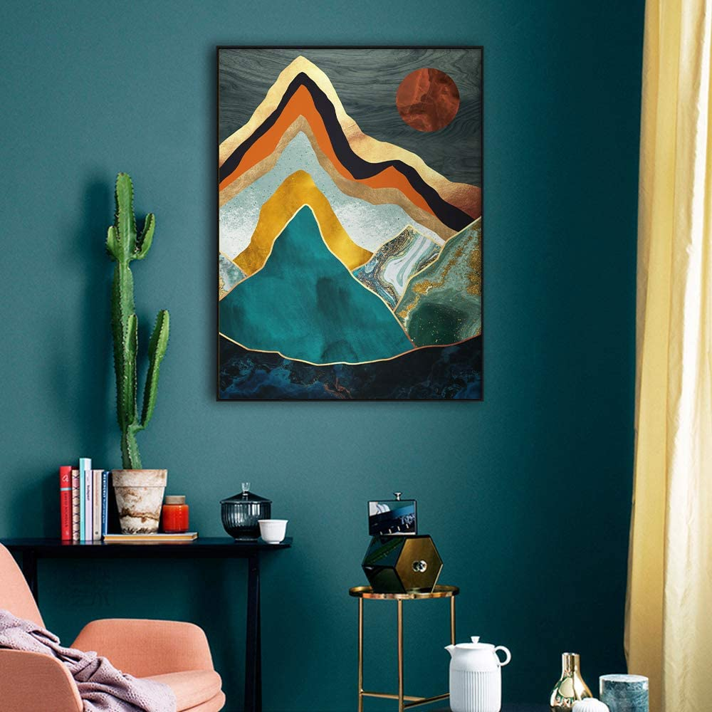 YUMKNOW Boho Mountain Wall Decor- Abstract Canvas Wall Art for Living Room Wall Decor for Bathroom, Unframed 12x16 inch, Nature Wall Decor, Moon Wall Art, Forest Wall Art, Sun Poster, Moon Painting