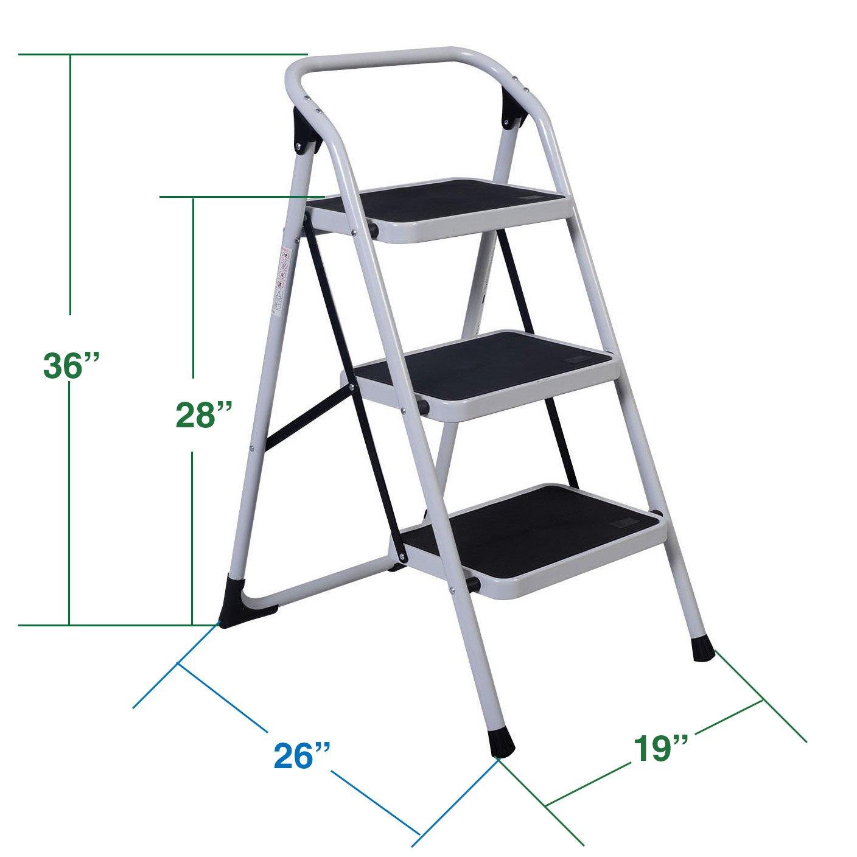 Clevr 3 ft. Lightweight Folding 3-Step Ladder Stool Platform, 330 lbs Capacity