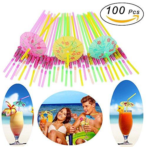 Parasol Straws - 100 Pcs Hawaiian Umbrella Straws Cocktail Parasol Umbrella Straws Disposable Plastic Bendable Drinking Straws for Birthday Wedding Tropical Luau Parties, Bars, Restaurants