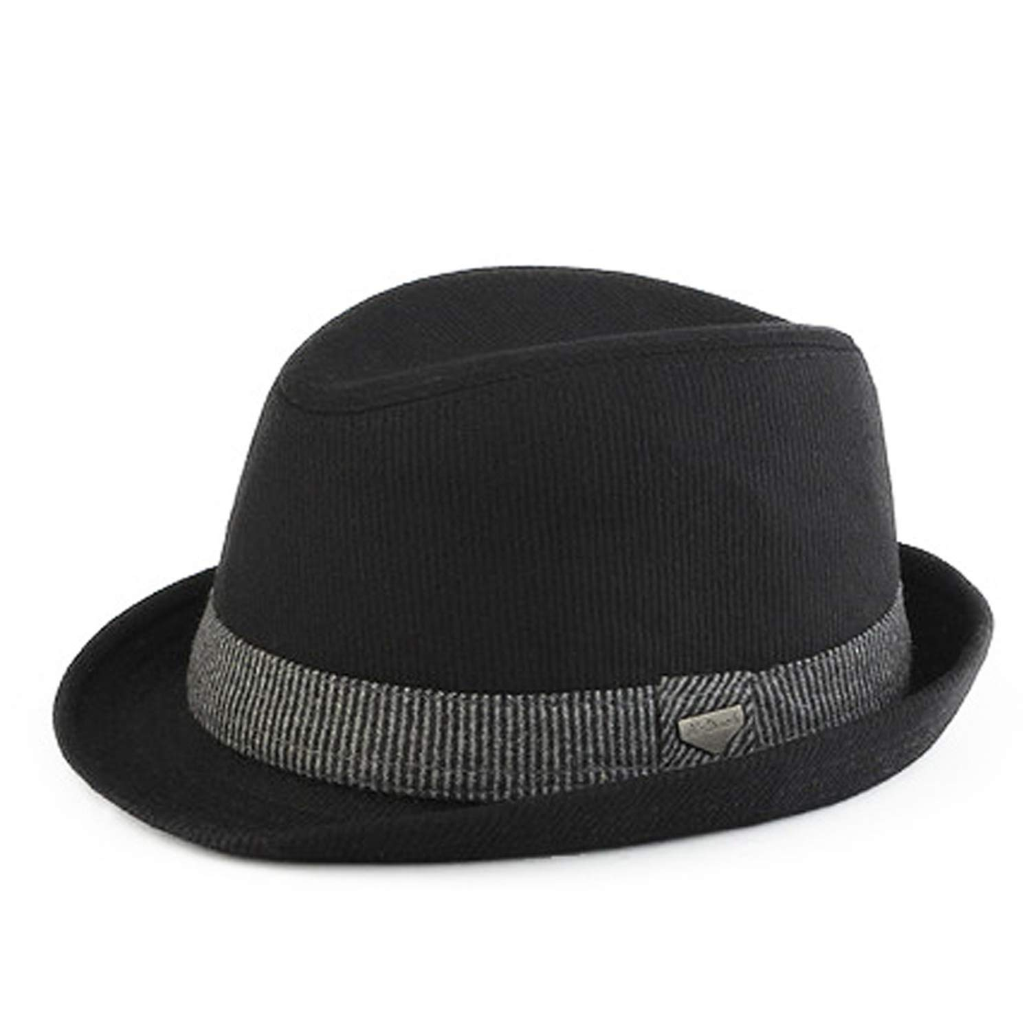Striped Trilby Hat for Men Vintage Wool Felt Fedora Hats Autumn Spring Summer Wide Brim Gentleman Jazz Caps