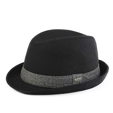 378bb7150b787 Striped Trilby Hat for Men Vintage Wool Felt Fedora Hats Autumn Spring  Summer Wide Brim Gentleman