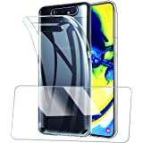 Halnziye Case for Samsung Galaxy A80, Slim Clear Soft TPU Case with [Tempered Glass Screen Protector], Shockproof…