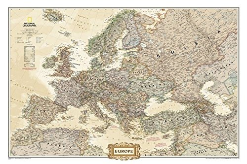 Europe Map with Cities and Countries Map by National Geographic rolled (not  folded) Current Map of Europe